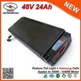 Discount ebike lights - High Quality 1400W Ebike Bicycle Rear Rack Battery 48V 24Ah with Tail Light used S amsung cell & 30A BMS + Charger FREE