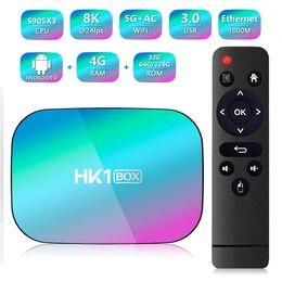 Wholesale HK1 Box Android 9.0 TV Box Amlogic S905X3 Quad Core 4GB 64GB Dual Wifi 4K 1000M Streaming Smart TV box Media Player