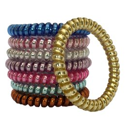 $enCountryForm.capitalKeyWord NZ - Telephone Wire Cord Metal Punk Rubber Coil Hair Band Ties Band Rope Bobbles Women Girls Headwear Hair Accessories Mixed color