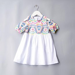 embroidered short white dress UK - INS Summer new Short Sleeve Dress Girls simple Cotton off shoulder dress embroidered national style princess skirtcolor matching thread skir