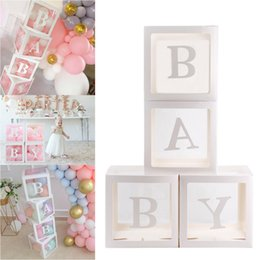 $enCountryForm.capitalKeyWord Australia - 4Pcs Clear Cardboard Cube Box Boy Girl Baby Shower Birthday Party Plastic Ball Box Case DIY Xmas Party Decoration Supplies