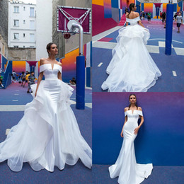 Mermaid Wedding Dresses With Detachable Skirt Off The Shoulder Satin Sweep Train Tiered Skirt Country Bridal Gowns Gorgeous Wedding Dress 43