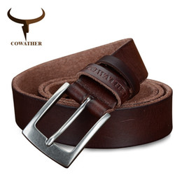 design genuine leather NZ - Cowather Top Cow Genuine Leather Men Belts 2019 Newest Arrival Three Color Hot Design Jeans Belt For Male Original Brand Q190417