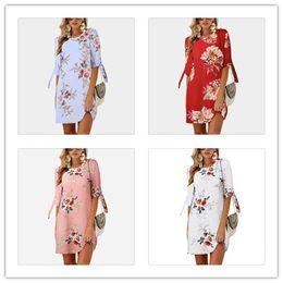 Design Patterns For Dresses Australia - Summer Dress New Designed Women Chiffon Printed Pattern Round Neck Collar Seven Length Sleeve Varies Pattern For Girl Women For Wholesale
