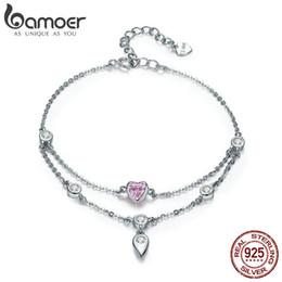 Silver Heart Bracelets For Women Australia - Bamoer Romantic New 925 Sterling Silver Sweet Heart Pink Cz Double Layers Bracelets For Women Sterling Silver Jewelry Scb090 Y19051101