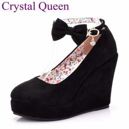 $enCountryForm.capitalKeyWord Australia - Black Red Elegant Wedges Shoes Wedges Sandals For Women Platform High Heels Round Toe High Heels Shoes Bowknot Wedges Shoes Y19070203