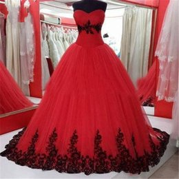 Wedding Dress Sweetheart Open Australia - Modern Red And Black Applique Wedding Dresses 2019 Ball Gown Sweetheart Tulle Open Back Real Photos Lace Applique Wedding Bridal Gowns