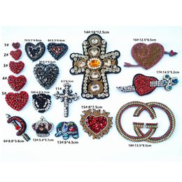 $enCountryForm.capitalKeyWord Australia - embroidery beaded heart patches,rhinestones beads cross appliqued tiger badges for jeans,crystals crown patches for clothing A113