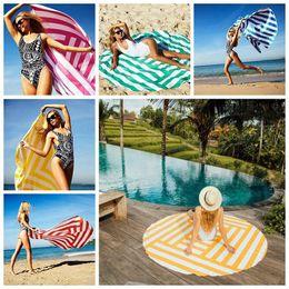 Striped Impresso Toalha de praia de banho de viagem Secagem Sports Swiming Bath Corpo Yoga Mat Stripe Toalha de Praia 6 cores OOA4670 em Promoção