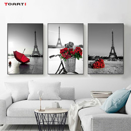 vintage canvas prints Australia - Paris City Black&White Photo Pictures Prints Vintage Poster Red Rose&Umbrella Wall Art Modern Canvas Painting Bedroom Decoration