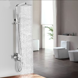 shower set spray handle Australia - 304Stainless steel square shower set hot and cold portable lifting top spray shower set