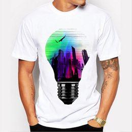 T Bulbs Australia - Men Clothing Tops Fashion Summer Short T Shirt Men Brand Clothing Cotton Comfortable Male T-shirt 3d Light Bulb Print Tshirt Men