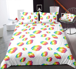 $enCountryForm.capitalKeyWord UK - Thumbedding Dropship Golden Shinning Lip Print Bedding Sets For Kids Twin Full Queen King Unique Design 3D Duvet Cover with Pillowcase