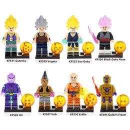 building blocks dragons 2019 - Dragon Ball Z Gotenks Son Goku Uub Hit Black Goku Rose Krillin Vogeta Golden Frezer Mini Action Figure Toy Building Bloc
