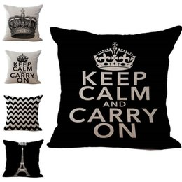 Discount keep calm pillows - Letter Keep Calm and Carry On Crown Pillow Case Throw Cushion cover linen cotton Square Pillowcase Cover Home sofa Decor
