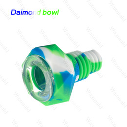 Discount diamond shaped glass bong Diamond Shaped unbreakable glass bowl with silicone body protection for glass water bongs pipes suits for 14mm18mm joint