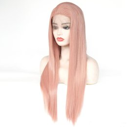 Wholesale Beautiful Cosplay Heat Resistant Glueless Wig Natural Hairline Straight Fully Wigs for Women Rose Gold Mixed Pink Synthetic Lace Front Wig
