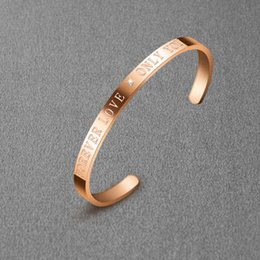 Diamond Jewelry Wholesale 18k Australia - 10pcs lot Open Rose Gold 18K Stainless Steel jewelry Bracelet Bangle with forever love only you white CZ diamond for women girlfriend