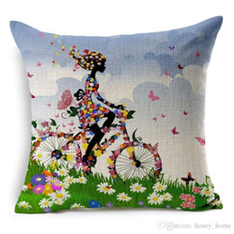 $enCountryForm.capitalKeyWord Australia - Bicycle Cushion Cover Flower Throw Pillow Case Vintage Girl Riding Bike Retro Bicycle Decorative Cushion Cover for Sofa