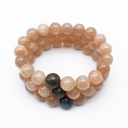 10mm Natural Sunstone Beads with Laradorite Beads Bracelet, Gemstone Bracelet, Elastic Bracelet,Beaded Bracelet ,Wholesale Bracelet on Sale