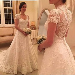 $enCountryForm.capitalKeyWord Australia - Vintage Sweetheart A Line Lace Appliques Wedding Dresses With Short Sleeves Sweep Train Bridal Gowns White Ivory Bridal Wedding Gowns