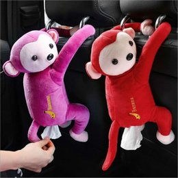 Wholesale monkey types online – design Creative Cartoon Monkey Home Office Car Hanging Paper Napkin Tissue Box Cover Holder Portable Paper Box