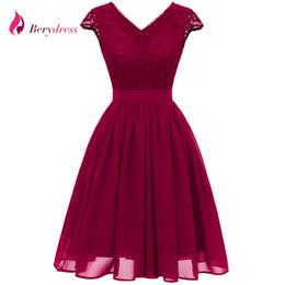 $enCountryForm.capitalKeyWord UK - wholesale Elegant V Neck Cap Sleeve Patchwork Burgundy Lace Dress A-line Navy Blue Vestidos Wedding Party Summer Chiffon Dresses