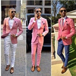 dark blue fashion suit men Australia - Custom Made Fashion Wedding Tuxedos Pink One Button Groom Suits Mens Groomsmen Slim Fit Best Man Prom Celebrity Wedding Suit (Jacket +Pant)