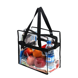 Zippered bags online shopping - Clear Zippered Shoulder Bag transparent Gym Tote Bags Long Handles Pocket beach party Stadium bag shopping organizer FFA1771