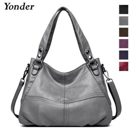 $enCountryForm.capitalKeyWord Australia - Yonder Genuine Leather Shoulder Bag Female Designer Handbags Women Bags Large Capacity Casual Tote Bag Fashion Ladies Bags Gray J190615