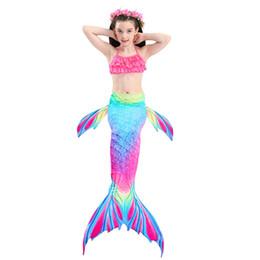 mermaid suit for swimming 2019 - Baby Girls 3 Pcs Mermaid Tail for Swimming Mermaid Bathing Suits Swimsuit Bikini Set 3-12 Years discount mermaid suit fo