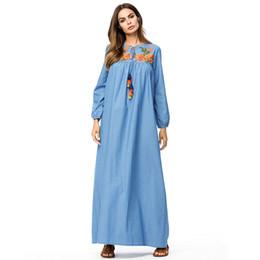 a97b51f12e Denim dress tall women maxi long dress Flower embroidery tassel drawstring  design swing Dress Fall plus size slim fit