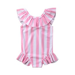 baby swim wear wholesale Australia - Toddler kids 2020 summer striped bikinis one piece Swim Wear Ruffles pink bathing suits baby girls 1-6Y Tankinis swimsuits sport
