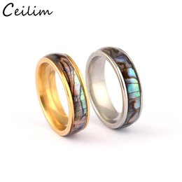 Discount gold plated rings for men - Shellhard Abalone Shell Stainless Steel Finger Rings Wedding Bands for Men Women Comfort Fit Size 6-12 Lovers Couple