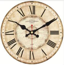 Discount green room decor - 5 Patterns Vintage Wooden Wall Clocks Roman Number Design Silent Watches Room Decoration Home Decor Large Wall Clocks