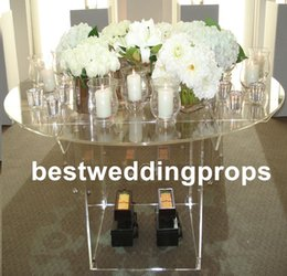 Wholesale New style plate only New style tall Wedding acrylic crystal Table Centerpiece Wedding Columns Flower Stand for Table decoration best0578