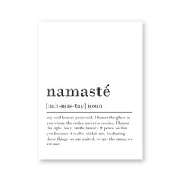 namaste yoga NZ - Namaste Definition Print Zen Yoga Wall Art Canvas Painting Black and White Picture Modern Minimalist Poster Home Room Wall Decor