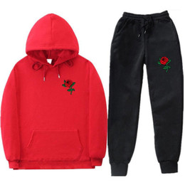 Wholesale roses are red for sale - Group buy Spring Autumn Sports Red Rose Printed Hoodies Pants Suits People Are Poison Rose Mens Tracksuits