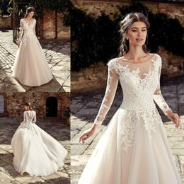 $enCountryForm.capitalKeyWord Australia - Mingli Tengda Sexy O Neck Wedding Dresses 2018 Elegant Appliques Lace Princess Dream Bridal Dresses Floor Length Ball Gown Wedding Dress