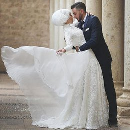 Wholesale A Line Chiffon and Lace Arabic Islamic Muslim Wedding Dresses High Collar Full Sleeve Chapel Bridal Dress Lace Appliques Wedding Wear