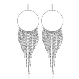 Plates Gift Europe UK - Luxury fashion and personality in Europe and the exaggeration to hollow out the circle with drill tassel earrings