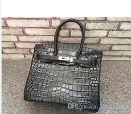 $enCountryForm.capitalKeyWord Australia - 30CM Brand Designer Top quality Totes Alligator bags Genuine Leather Silver Hardware women Cowhide Fashion Handbag Factory Real Image