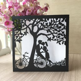 card figures NZ - 20PCS Lovers Kiss Wedding Invitation Card With Lace Tree Valentine's Happiness Party Invitations High-eng Invitation Cards