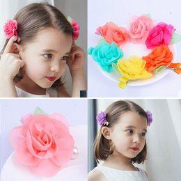 $enCountryForm.capitalKeyWord Australia - Chiffon Rose Flower Hairpins Kids Accessories Green Leaf Children Hair Accessories Baby Delicate Rose Hair Clip