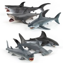 marines costume UK - Simulated Animal Marine Organism Animal Model Toy Scene Great White Shark Hammerhead Shark Blue Shark Collection Decoration