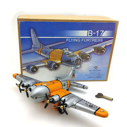Toy Propellers Australia - [Funny] Adult Collection Retro Wind up toy Metal Tin flying fortress bomber Propeller plane Clockwork toy model vintage toy gift