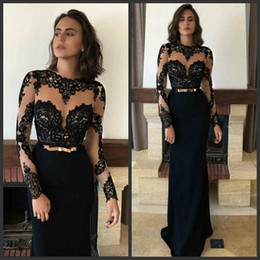 $enCountryForm.capitalKeyWord Australia - Black Sexy Lace Prom Dresses Illusion Long Sleeves Transparent Sheer Neck 2019 Fashion Formal Evening Dresses Floor Length Women Party Gowns