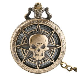 $enCountryForm.capitalKeyWord UK - Vintage Bronze Steampunk Hollow Pirate Skull Head Necklace Hot One Piece Style Horror Quartz Pocket Watch Necklace Chain for Men Women