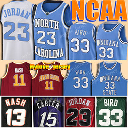 NCAA Steve Nash Jersey Universidad de Santa Clara Vince Carter 15 Norte 33 Larry Bird Carolina Universidad jerseys del baloncesto 23 Michael Jersey en venta