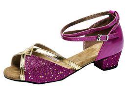 Ballroom Latin Tango Shoes Australia - Girls Glittering PU Leather Latin Dance Shoes Ballroom Tango Salsa Chacha Dancing Sandals Soft Suede Sole Modern Dance Shoes for Kids